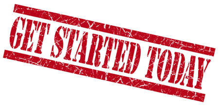 initiate: get started today red grungy stamp on white background