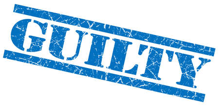 convicted: guilty blue grungy stamp on white background