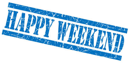 happy weekend blue grungy stamp on white background
