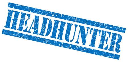 headhunter blue grungy stamp on white background photo
