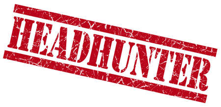 headhunter red grungy stamp on white background photo