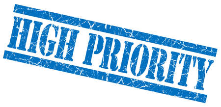 precedence: high priority blue grungy stamp on white background