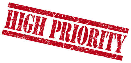 precedence: high priority red grungy stamp on white background Stock Photo