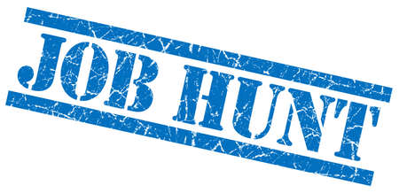 job hunt blue grungy stamp on white background photo