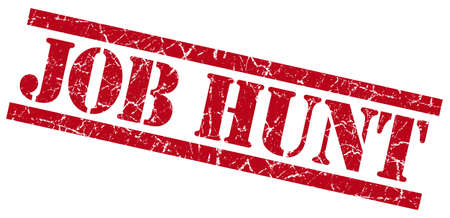 job hunt red grungy stamp on white background photo