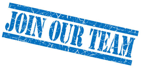 join our team blue grungy stamp on white background photo