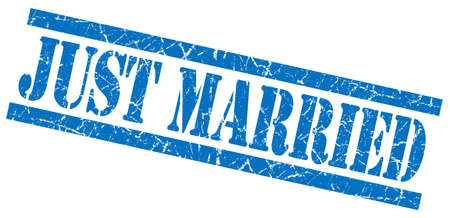 just married blue grungy stamp on white background photo