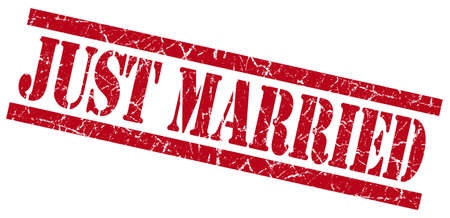 just married red grungy stamp on white background photo
