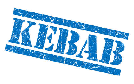kebab blue grungy stamp on white background photo