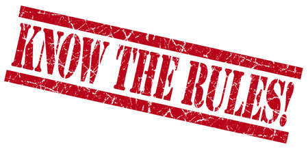 know the rules red grungy stamp on white background photo