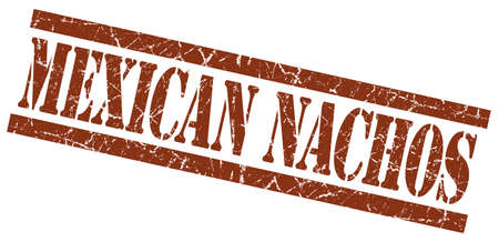 mexican nachos brown grungy stamp on white background photo