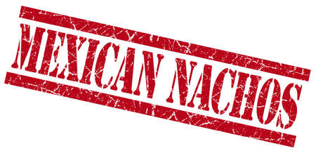 mexican nachos red grungy stamp on white background photo