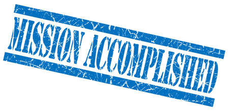 mission accomplished blue grungy stamp on white background photo