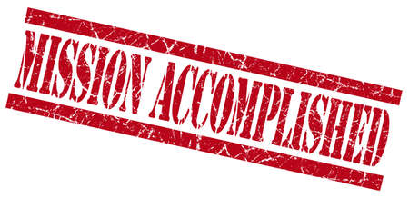 mission accomplished red grungy stamp on white background photo