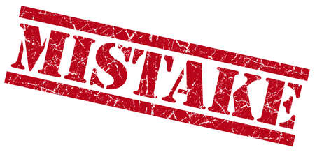 fallacy: mistake red grungy stamp on white background