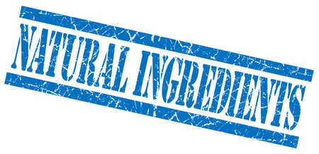natural ingredients blue grungy stamp on white background photo