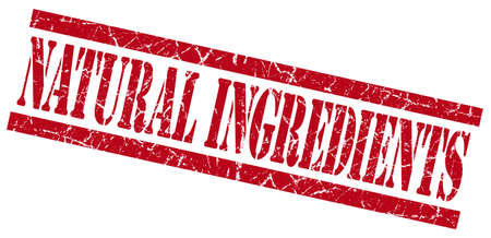 natural ingredients red grungy stamp on white background photo