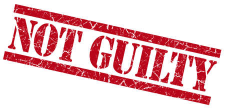 not guilty red grungy stamp on white background