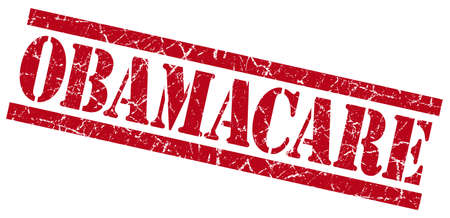 obamacare red grungy stamp on white background photo
