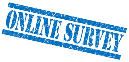 feedback link: online survey blue grungy stamp on white background
