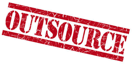 permission granted: outsource red grungy stamp on white background