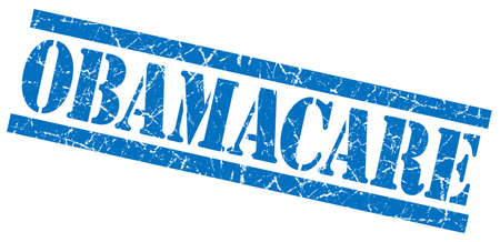obama care: obamacare blue grungy stamp on white background