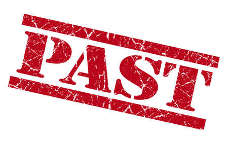 past red grunge stamp isolated on white photo