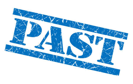 past blue grunge stamp isolated on white photo