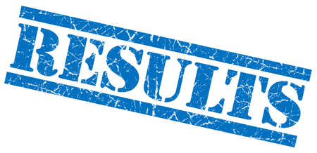 results blue grunge stamp isolated on white photo