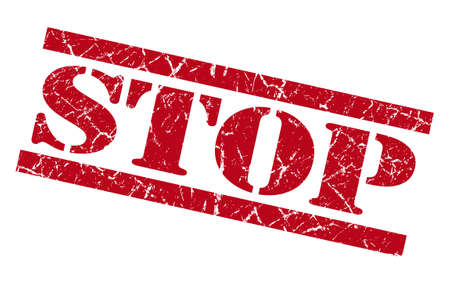 precaution: stop red grunge stamp isolated on white Stock Photo
