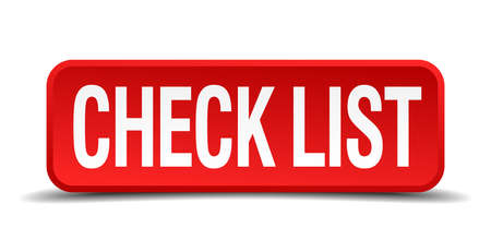 check list red 3d square button on white background Vector