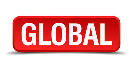 globally: Global red 3d square button on white background Illustration