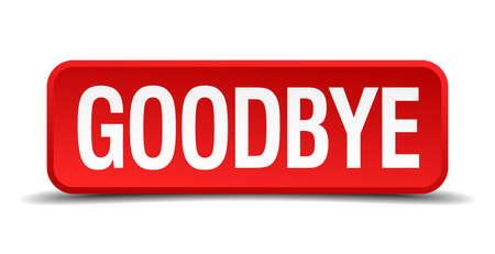 addio: Addio Red 3D pulsante quadrato su sfondo bianco