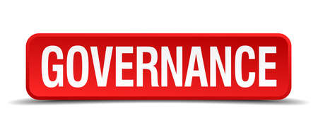 governance: Governance red 3d square button on white background