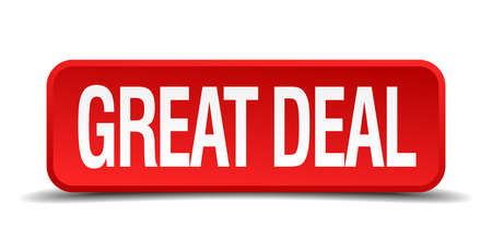 great deal red 3d square button on white background Vector