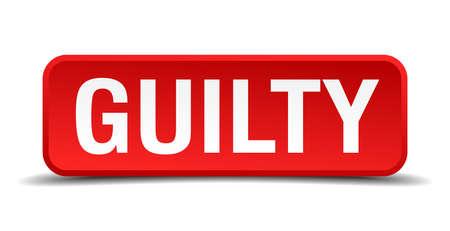 accuser: Bouton carr� rouge Guilty 3d sur fond blanc