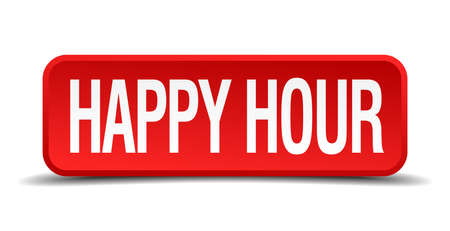 Happy hour red 3d square button on white background Vector