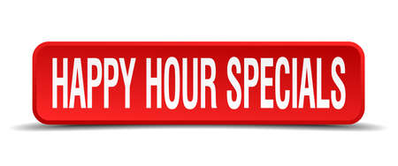 happy hour specials red 3d square button on white background Vector