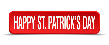 Happy st patricks day red 3d square button on white background Vector