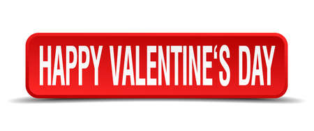 Happy Valentines day red 3d square button on white background Vector