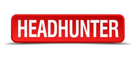 headhunter: headhunter rosso 3d pulsante quadrato su sfondo bianco Vettoriali