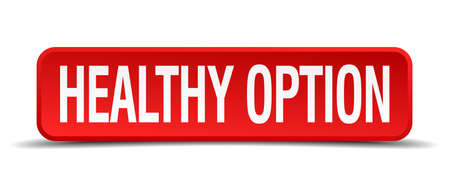 healthy option red 3d square button on white background Vector