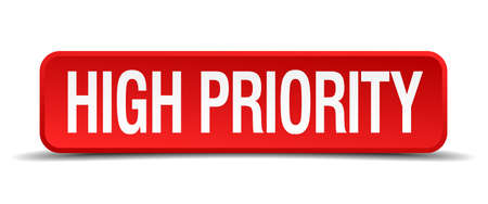 urge: high priority red 3d square button on white background