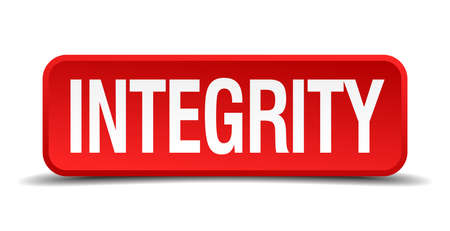 Integrity red 3d square button on white background Vector