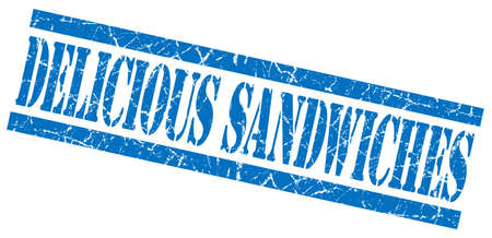 elevenses: delicious sandwiches blue square grunge textured isolated stamp Stock Photo