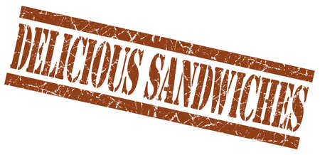 elevenses: delicious sandwiches brown square grunge textured isolated stamp