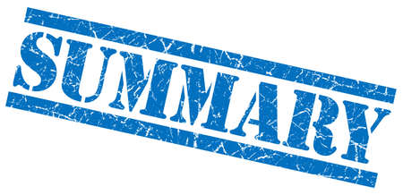 synopsis: summary blue square grunge textured isolated stamp