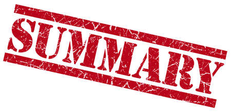 synopsis: summary red square grunge textured isolated stamp