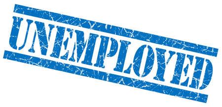 unemployed blue square grunge textured isolated stamp photo