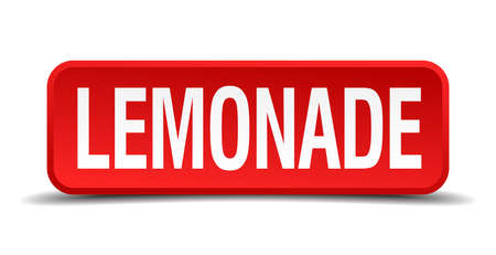 Lemonade red 3d square button isolated on white Vector